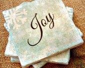Stone Coasters-Set of 4-Christmas, Joy, Handmade Gift