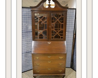 Vintage Mahogany Queen Anne Style Secretary Desk