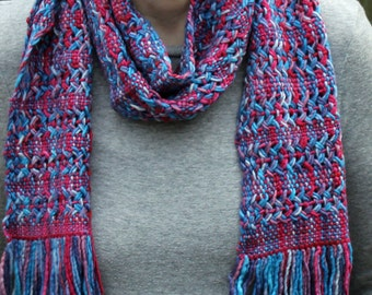 Pinks and Blues Woven Acrylic Scarf