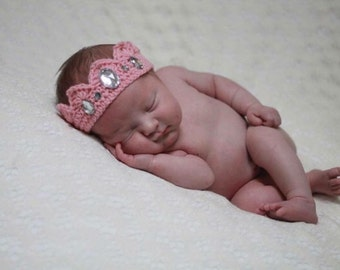 Pink Crochet Newborn Baby Crown Princess Girl Rhinestones Photo Prop Baby Shower Gift First Birthday Party Crown New Born Photos