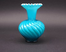 """Fenton Jamestown Blue Cased Glass Vase, Swirl Patter, Ruffled Crimped Edge, 6"""" tall, Beautiful Teal Blue Home Decor, Gift for Anyone"""