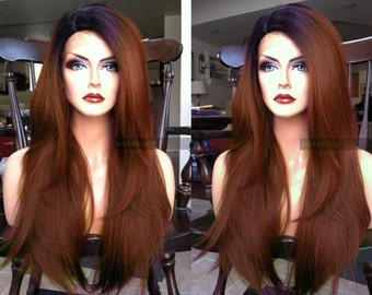 Auburn Lace Front Wig // Brown Yaki Texture LACE FRONT & Part Kinky Ombre Straight Long Wig w/ Black Dark Root