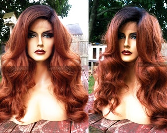 USA // HUMAN HAIR Blend Auburn Whole Swiss Lace Front Brown Ombre Wavy Wig w/ Curly Dark Root