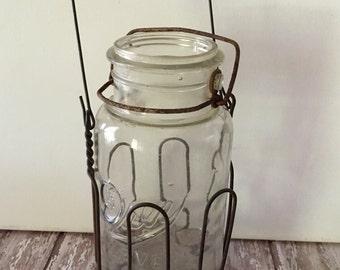 Vintage Jar Lifter, Vintage Mason Jar with Carrier, Canning Jar Holder with Handle and Jar, Canning Jar Carrier, Canning Jar Lifter