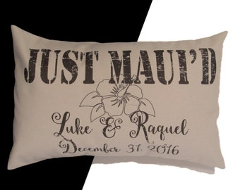 Hawaiian wedding etsy just mauid or happily mauid personalized rustic linen or cotton pillow wedding negle Gallery