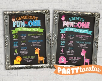 Fun To Be ONE Birthday Chalk Board Poster Print