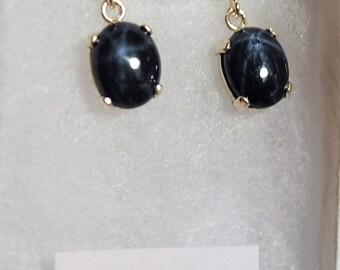 Star Sapphire Cabochon Sterling Silver Post Dangle Earrings