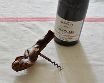 Vintage French Olive Wood Corkscrew