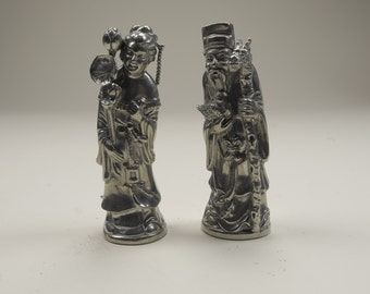 Silver Chinoiserie Salt And Pepper Shakers