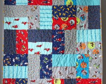Baby Boy Quilt- Sock Monkey Baby Bedding- Sock Monkey Quilt- Sock Monkey Nursery- Homemade Baby Quilt-Boy Bedding-Sock Monkey Toddler Quilt