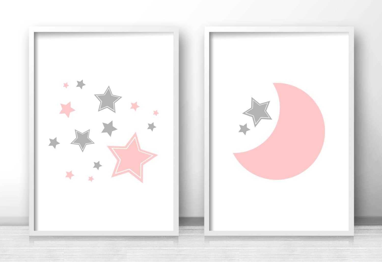 moon and stars nursery prints printable nursery art pink. Black Bedroom Furniture Sets. Home Design Ideas