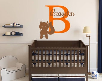 Personalized, Fox, Name, Initial, Baby, Children, Boy, Girl, Nursery, Bedroom, Home, Decor, Animal, Woods