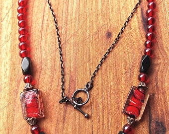 Red and Black Art Deco Inspired glass and chain necklace