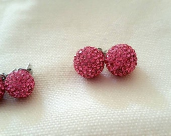 Pink cubic disco ball earrings