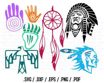 Native American Clipart Design Files, Use With Silhouette and Cricut Software, DXF Files, SVG Font, EPS File, Svg Font, Silhouette - CA298