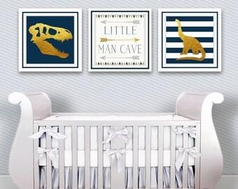 Dinosaur Nursery - Baby Dinosaur Nursery - Toddler Dinosaur Nursery - Dinosaur Nursery Theme - Little Man Cave - Navy and Gold Nursery Decor