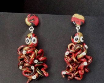Octopus Earrings, Tentacles, Unique, OOAK, Polymer Clay, Red, Black, Gold