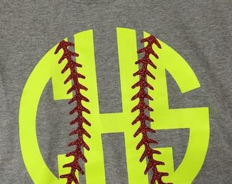 monogram softball shirt monogram softball glitter shirt yellow softball shirt mom softball shirt