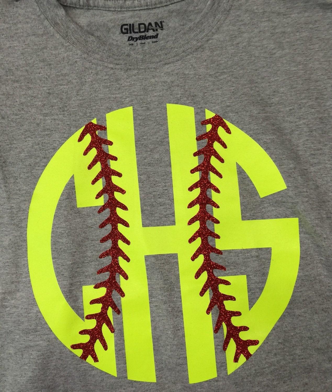 Softball: Monogram Softball Shirt Monogram Softball Glitter Shirt Yellow