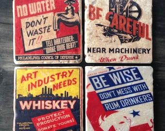 Funny Vintage WPA Liquor Posters Tile Set x4