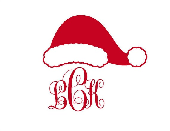 santa hat monogram iron on decal custom iron on letters iron on monogram initials