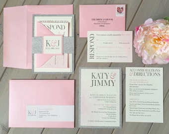 Glitter Wedding Invitations, Pink and Silver Wedding Invitations, Pink & Silver Shimmer Wedding Invitations, Sparkly invitations