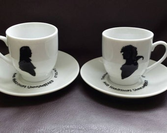 Hand painted espresso cups inspired by Labyrinth