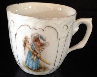 Vintage Child's Mug Cup Girl in Blue Dress