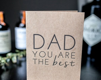 Father's Day Letterpress Greeting Card, Black Letterpress, Kraft Card, Card for Dad