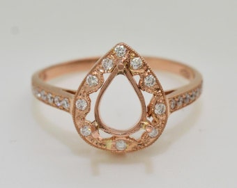 18 Karat Rose Gold and Diamond Semi Mount Engagement Ring 2.7 grams
