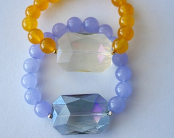 Beaded Stretch Bracelet, Large Crystal, Jade Beads, Quartzite Beads, Yellow, Purple, Natural Stones, Handmade, Fortina Designs