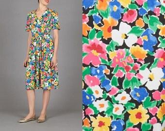ON SALE Vintage Colorful Floral Dress