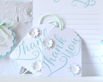 Mint Floral Tags: Gift, favor, treat bag tags with a flower design and script Thank You, personalize and customize - LRD020TG