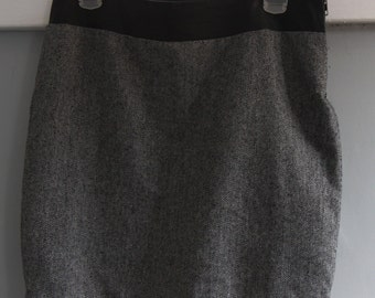Used Woman's Clothing Faux Tweed and Leather Grey Black Skirt