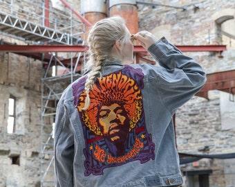 SALE! Jimmy Hendrix  Band Tee Customized Jean Jacket