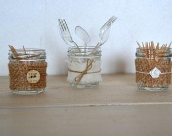 Trio of mini food jars, linen or burlap