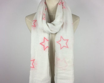 Stars Scarf Star Scarf Stars Cotton Scarf Woman Accessories Gift For Her Star Scarves Pink Star Scarf White Scarf Teen Scarf Fashion Scarf