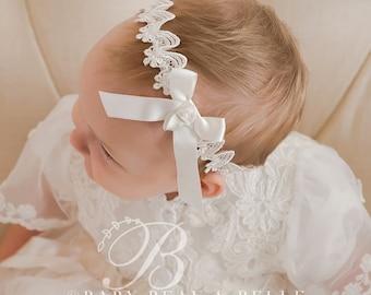 Ivory Lace Headband 'Caroline', Girls Ivory Christening Headband