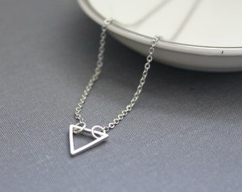 Small Triangle Necklace / Silver Triangle Necklace / Layering Necklace / Gifts for Her / Bridesmaids Gift / Mother's Day Gift