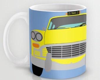 New York Yellow Taxi mug-Cool Manhattan Cab Mug-Retro car Mug-Automobile Mug-Colourful yellow cab mug-Tea mug-Coffee lover Gift ideas