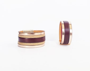 Golden pink leather cuff, Golden Lizard and Burgundy leather jewellery bursts of fancy bracelet