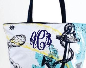 Anchor Print Tote/Beach Bag