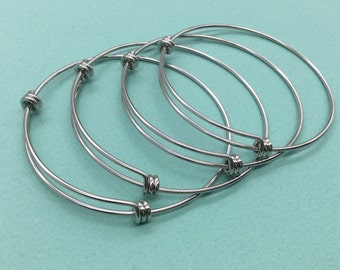 10 pcs Stainless Steel Adjustable Wire Bangle Bracelet 3 Loops Wrap Silver Tone