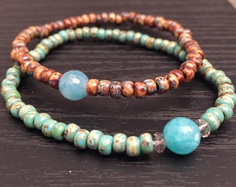 Set of 2 Brown and Blue Bracelets. (Stretch)