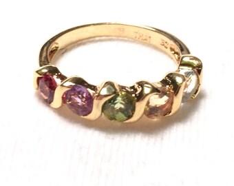 DBJ multi stone / gem 925 sterling silver ring