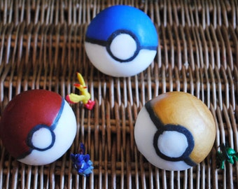 3 x Pokeball Soap with a toy in the middle – 3 pack - Handmade Party Favour Anime Geek Gift