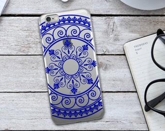 Blue Tribal Mandala  iPhone Case - Blue Tribal Mandala Phone Case - Tribal Phone Case - Mandala iPhone Case - Blue iPhone Case - iPhone Case