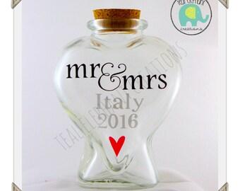 Heart Shaped Honeymoon Sand Jar - sand bottle - custom wedding gift - wedding shower gift - Mr & Mrs - vacation memories