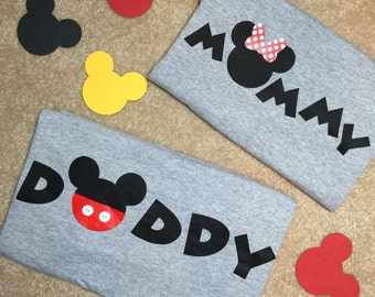 Mommy and Daddy Mickey Mouse Minnie Mouse Shirts