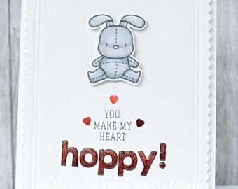 Handmade greetings card, Bunny Love card